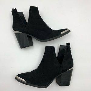 Mossimo Western Cowboy Black Suede Ankle Boots 6